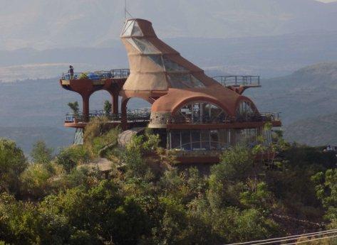 This photo shows the amazing spaceship-like Ben Abeba restaurant in Lalibela, Ethiopia