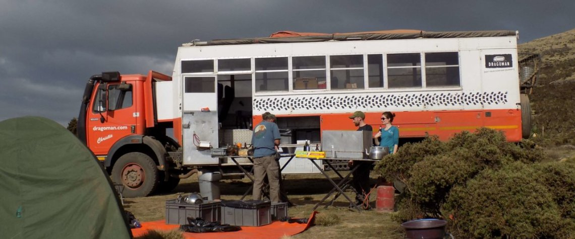 This picture shows our camp in the Simien Mountains, Ethiopia with our Dragoman truck in the background