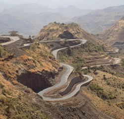 This photo shows a winding road cutting through the mountainous landscape of northern Ethiopia.