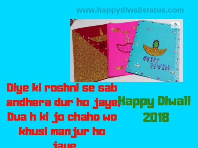 Homemade Diwali with Greeting Cards and wishes to friends and decorating Diyas