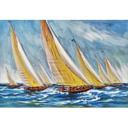 tableau moderne marine soleil en bleu marine 2 l 100 cm