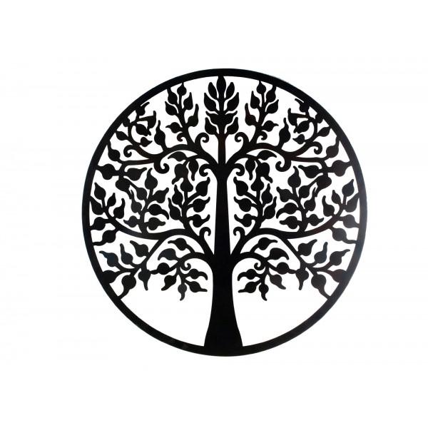 decoration murale fer arbre de vie noir mod 9 h 80 cm