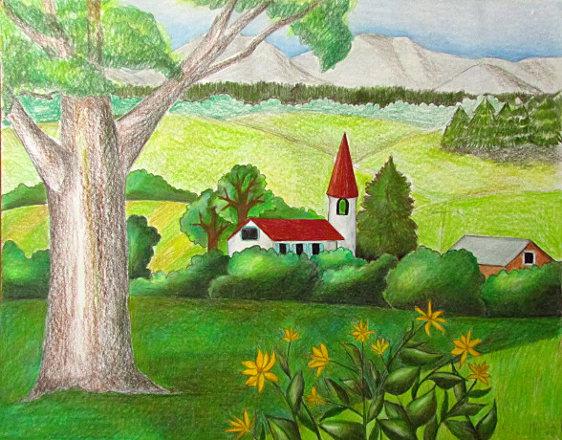 Color Pencil Landscape Drawing Happy Family Art