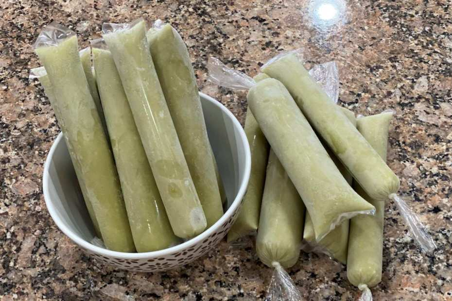 filipino avocado ice candy in wrapper with bowl