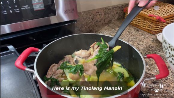tinolang manok being served from a pot with a big dipper