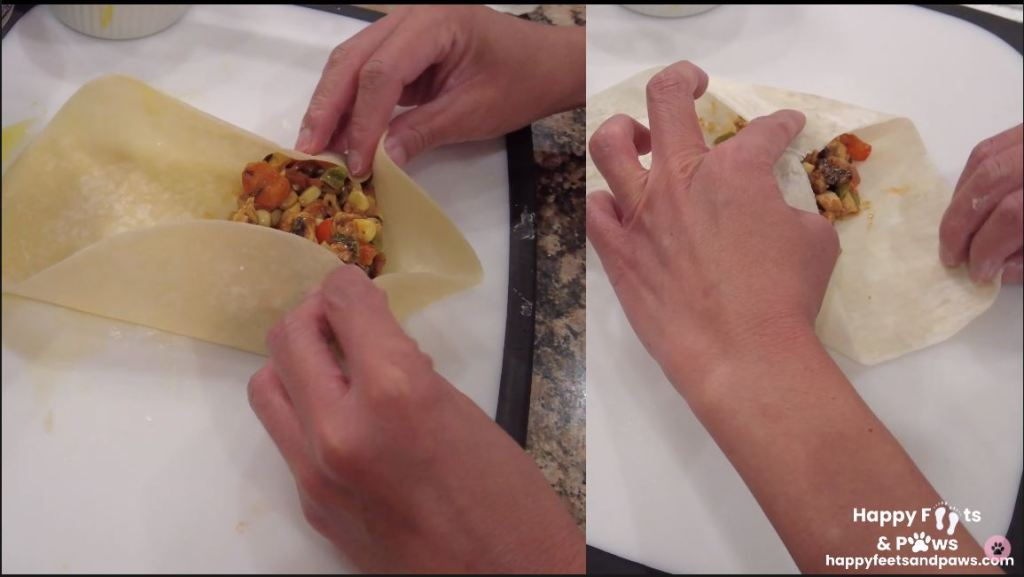 south west egg rolls being wrapped