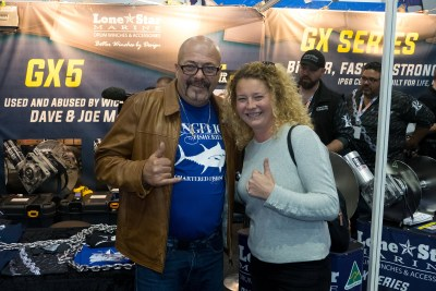 happy fisherman at boat show 2019 with Dave Marciano