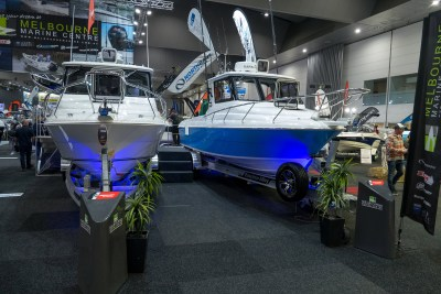 happy fisherman at boat show 2019