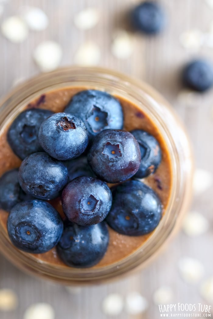 Blueberry Coffee Breakfast Smoothie Closeup Picture