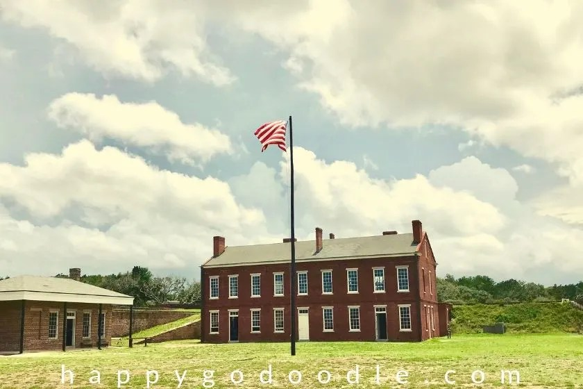 photo of flag and fort clinch state park in amelia island