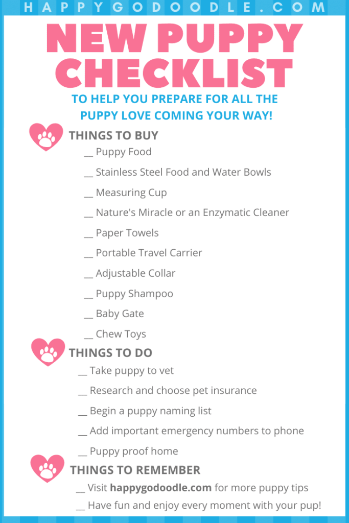 new puppy checklist printable downloadable