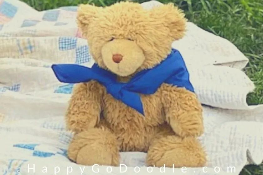 Teddy bear stuffed toy with a blue bandana sitting outside on a quilt. photo.