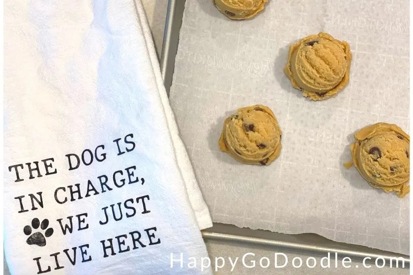 chocolate chip cookie dough on a cookie tray as a happy memory, photo.