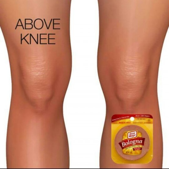 Above knee...bologna