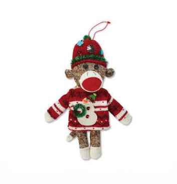 Ugly Sweater Sock Monkey Ornament