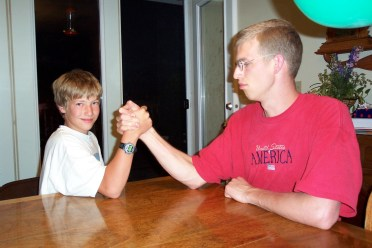 Brothers Ammon and Nathan arm wrestling!