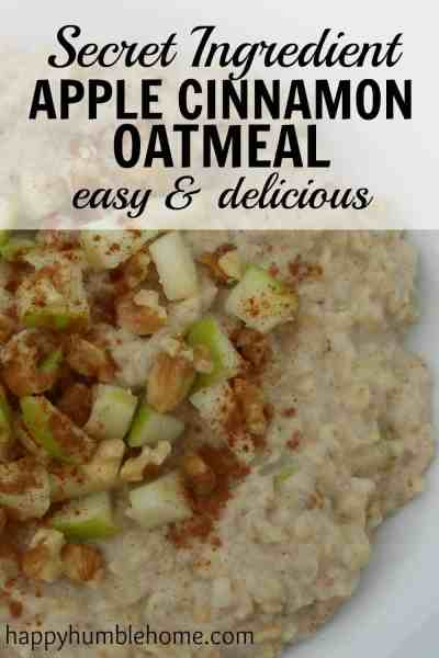 This secret ingredient apple cinnamon oatmeal is so yummy! It's super easy to make and super filling! The secret ingredient really does make it so much better!!