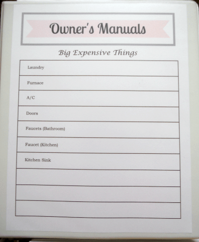 How to Organize Owner's Manuals with free printable