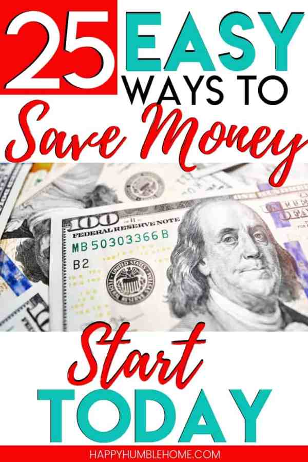 25 Easy Ways to Save Money - These frugal living ideas will help you with saving money to pay off debt and reach a financial goal - like going on vacation or saving for a car! Who doesn't like extra cash?