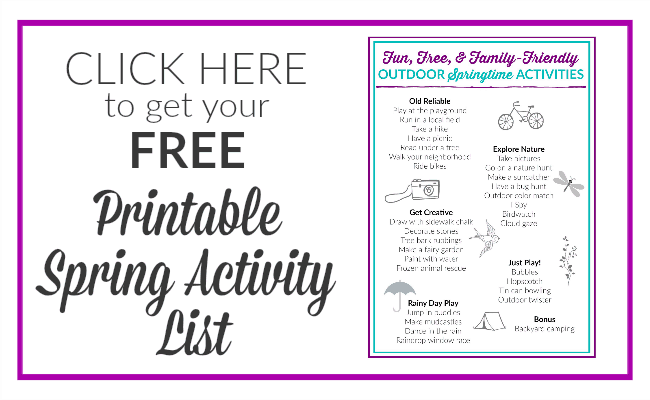 Get your FREE list of Free Spring Activities the whole family will love!