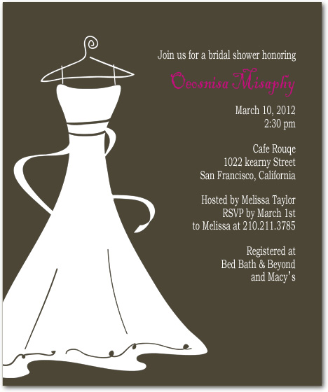 Wedding Dress Invitation Printable Bridal Shower Template