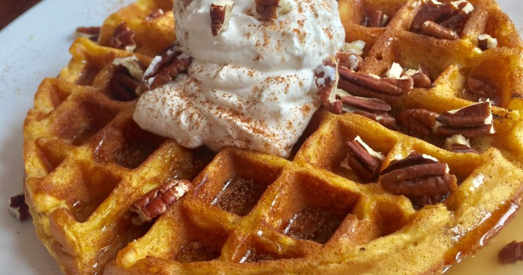 Pumpkin Waffles with Maple Whipped Cream
