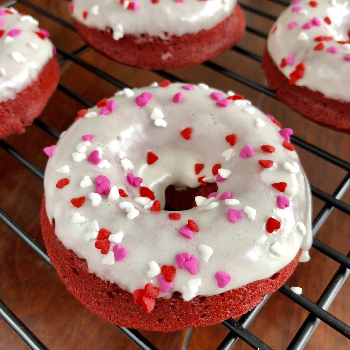 Red Velvet Donuts with Cream Cheese Glaze