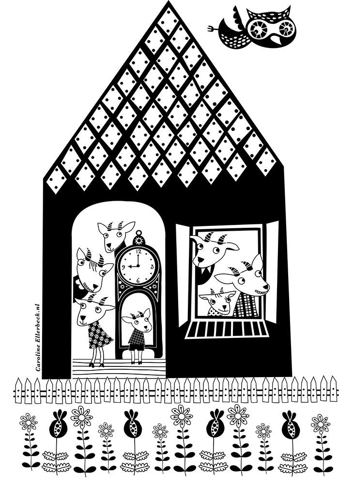 Aan de tekentafel Caroline Ellerbeck poster de wolf en de zeven geitjes HappyMakersBlog