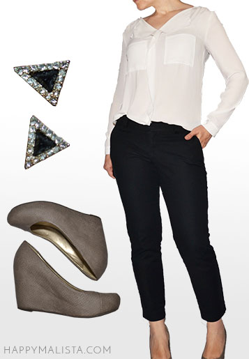 business casual wardrobe capsule outfit. White shirt outfit, black pants.