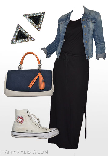 spring wardrobe capsule. long black cotton dress, jean jacket and chucks outfit.