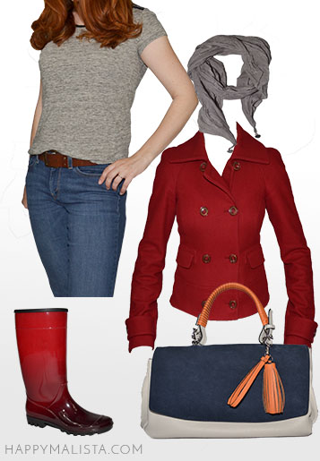 spring wardrobe capsule. red jacket and rain boots. casual outfit