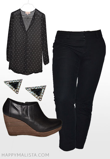 office business casual outfit. black capris and blouse