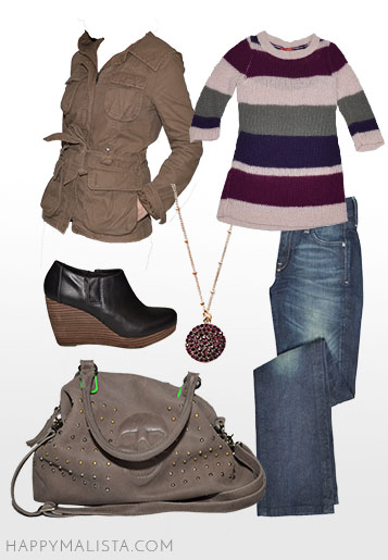 spring wardrobe capsule. purple, pink and military green. purple outfit