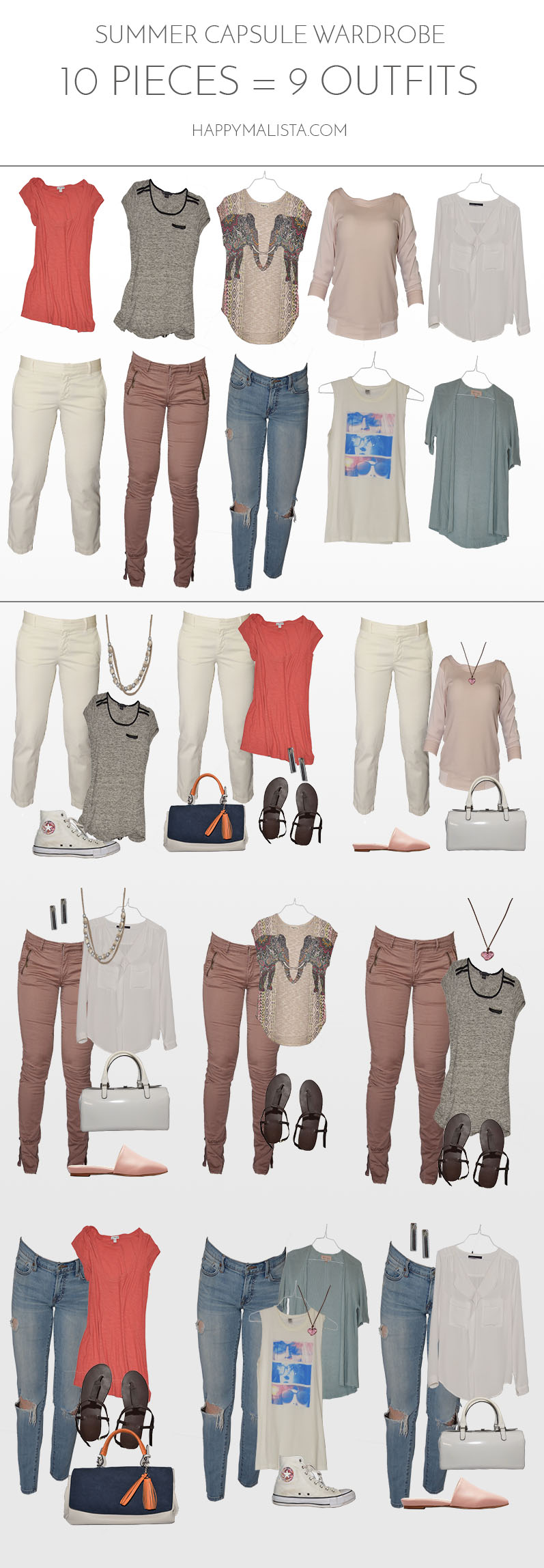 summer wardrobe capsule - 10 pieces - 9 outfits