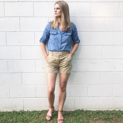 Blue botton down shirt and shorts outfit