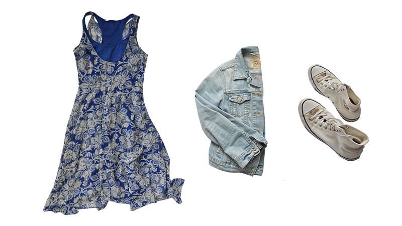 floral dress, denim and chucks outfit