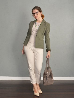 ivory pants and blazer outfit