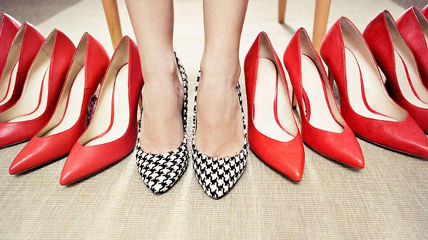 red shoes and patterned shoes