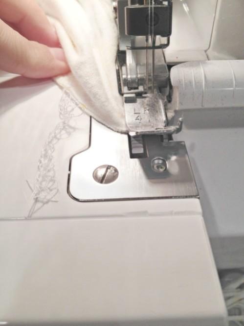 DIY Sleep Sack keep pulling to end serged stitch