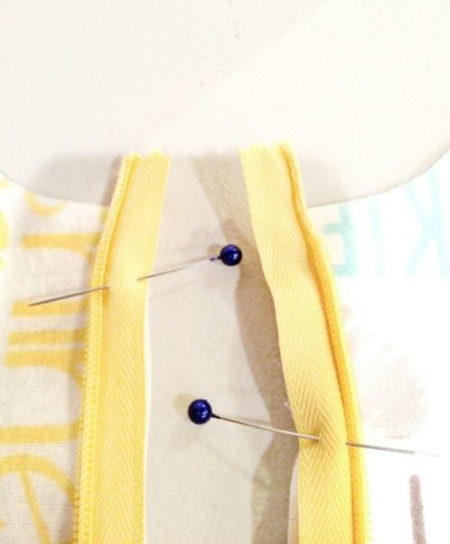 DIY Sleep Sack top of zipper