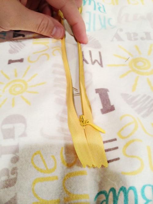DIY sleep sack sewn zipper