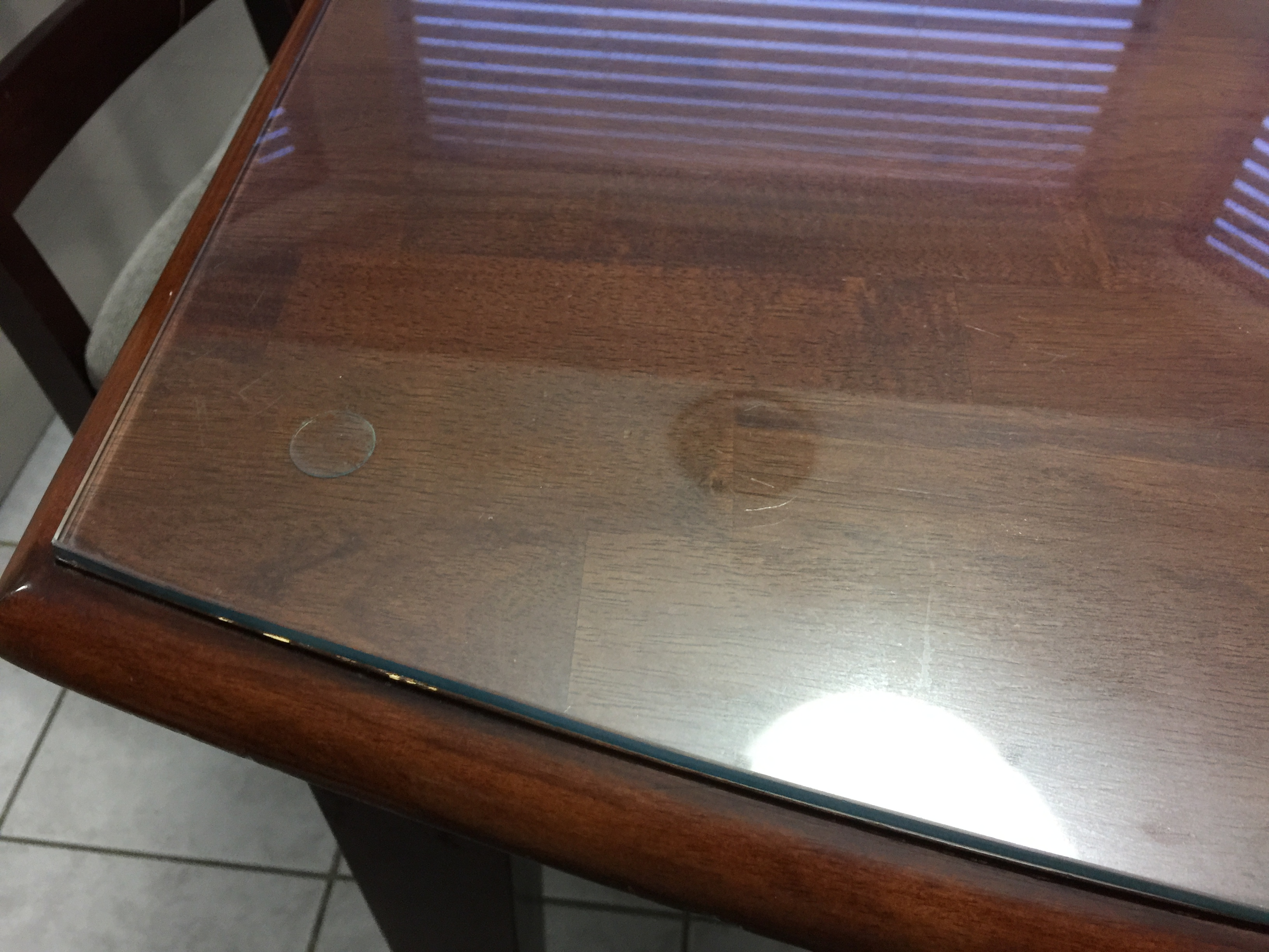 So, We Decided To Get Custom Glass Tops To Protect Our Dark Wood Dining  Table. We Didnu0027t Want The Dark Wood To Get Dented Or Scratched And The  Glass Has ...