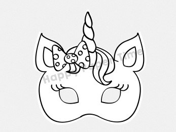 Unicorn mask printable (for coloring) - Easy craft by ...