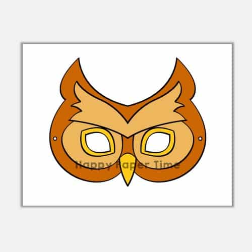 Owl Mask Animal Costume Kid Craft Printable Template Happy Paper Time