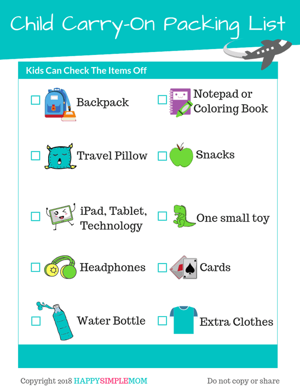 child carry-on packing list