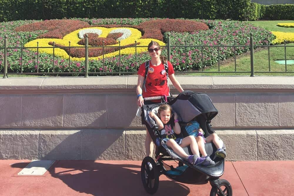Our rented stroller for our older toddlers while at Disney World. | Last Minute Disney World Vacation | Disney World Family Vacation | Disney World Planning | Disney World Tips and Tricks