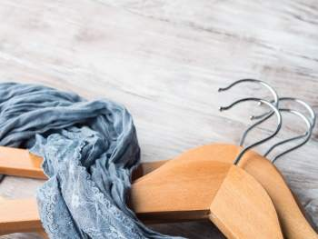 scarf and wooden hangers