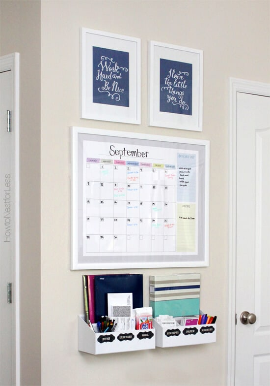 Kitchen family command center with a dry erase calendar.