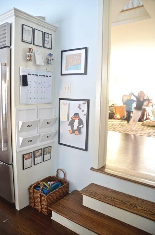 Family command center that works great in a small space.  Dry erase calendar and hanging wall folders.