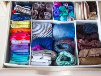 Folded socks in a drawer, an easy place to start decluttering